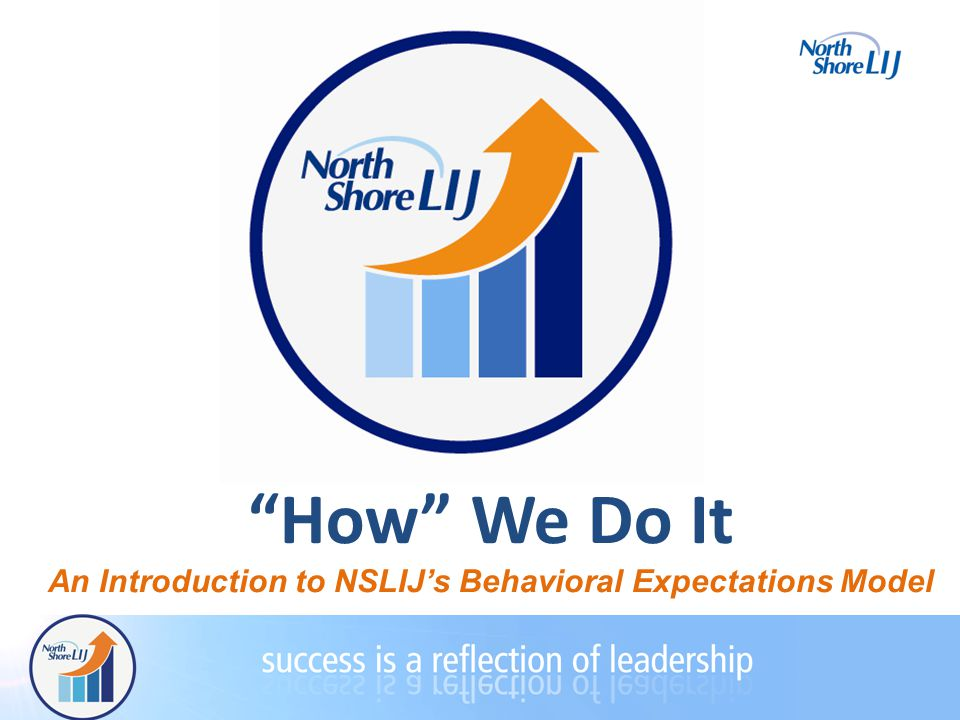 How We Do It An Introduction to NSLIJ's Behavioral Expectations Model