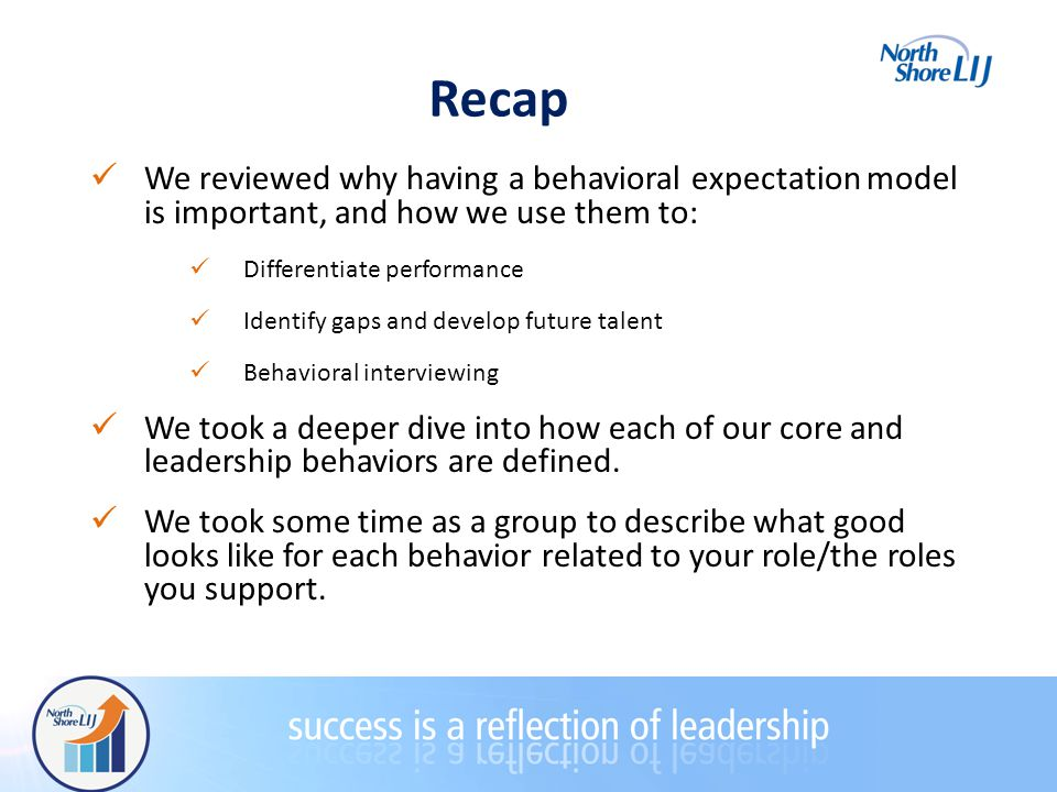 Recap We reviewed why having a behavioral expectation model is important, and how we use them to: Differentiate performance Identify gaps and develop future talent Behavioral interviewing We took a deeper dive into how each of our core and leadership behaviors are defined.