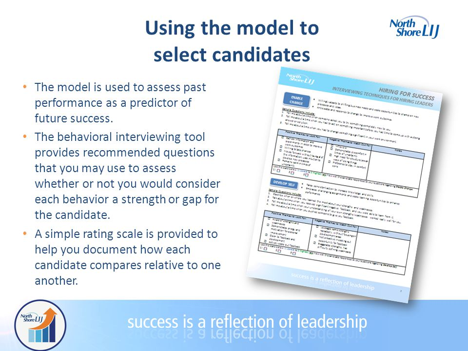 Using the model to select candidates The model is used to assess past performance as a predictor of future success.