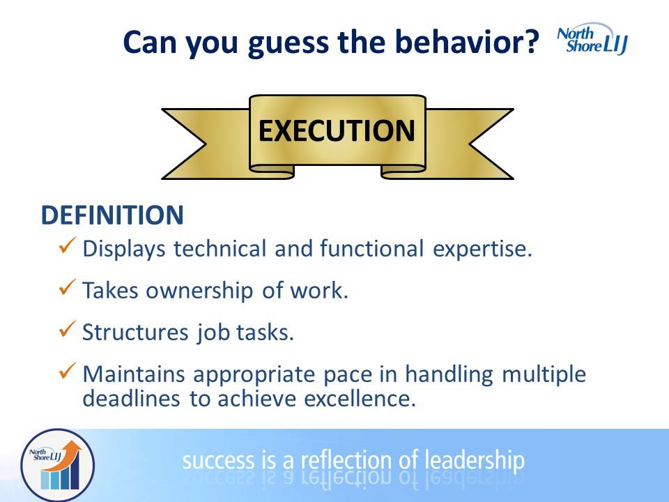 Can you guess the behavior. EXECUTION DEFINITION Displays technical and functional expertise.