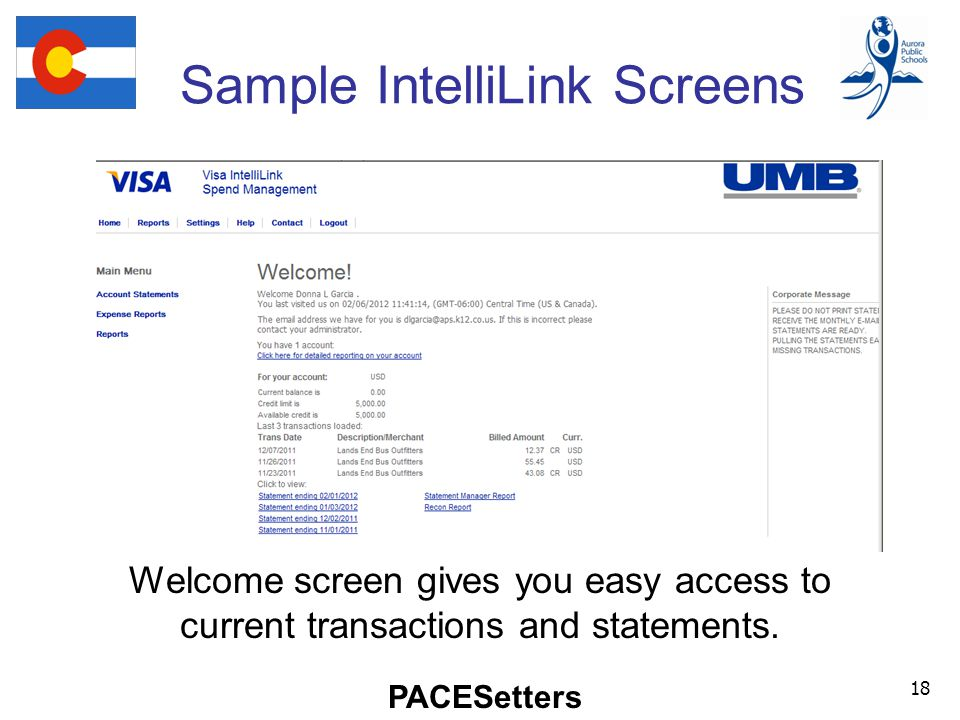 PACESetters Sample IntelliLink Screens 18 Welcome screen gives you easy access to current transactions and statements.