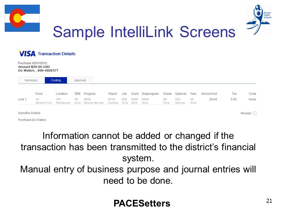 PACESetters Sample IntelliLink Screens 21 Information cannot be added or changed if the transaction has been transmitted to the district's financial system.