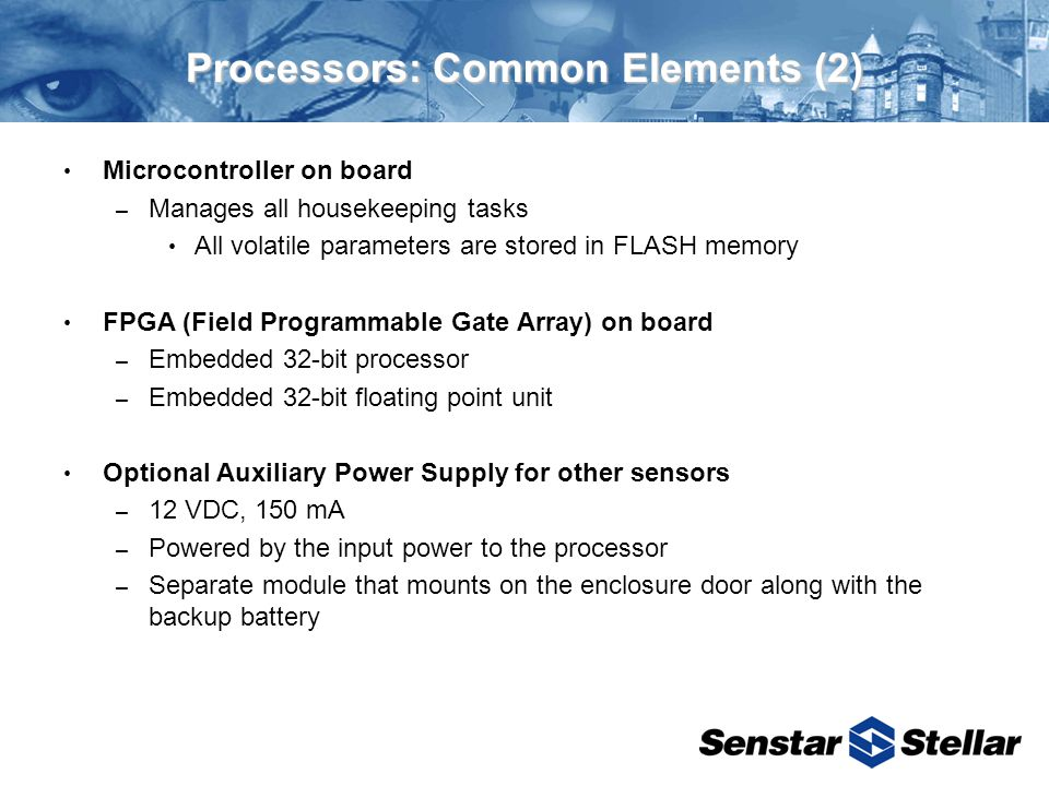Processors: Common Elements (2) Microcontroller on board – Manages all housekeeping tasks All volatile parameters are stored in FLASH memory FPGA (Field Programmable Gate Array) on board – Embedded 32-bit processor – Embedded 32-bit floating point unit Optional Auxiliary Power Supply for other sensors – 12 VDC, 150 mA – Powered by the input power to the processor – Separate module that mounts on the enclosure door along with the backup battery