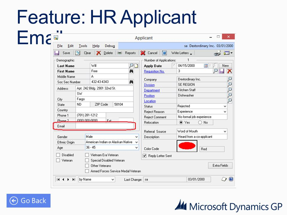 Feature: HR Applicant