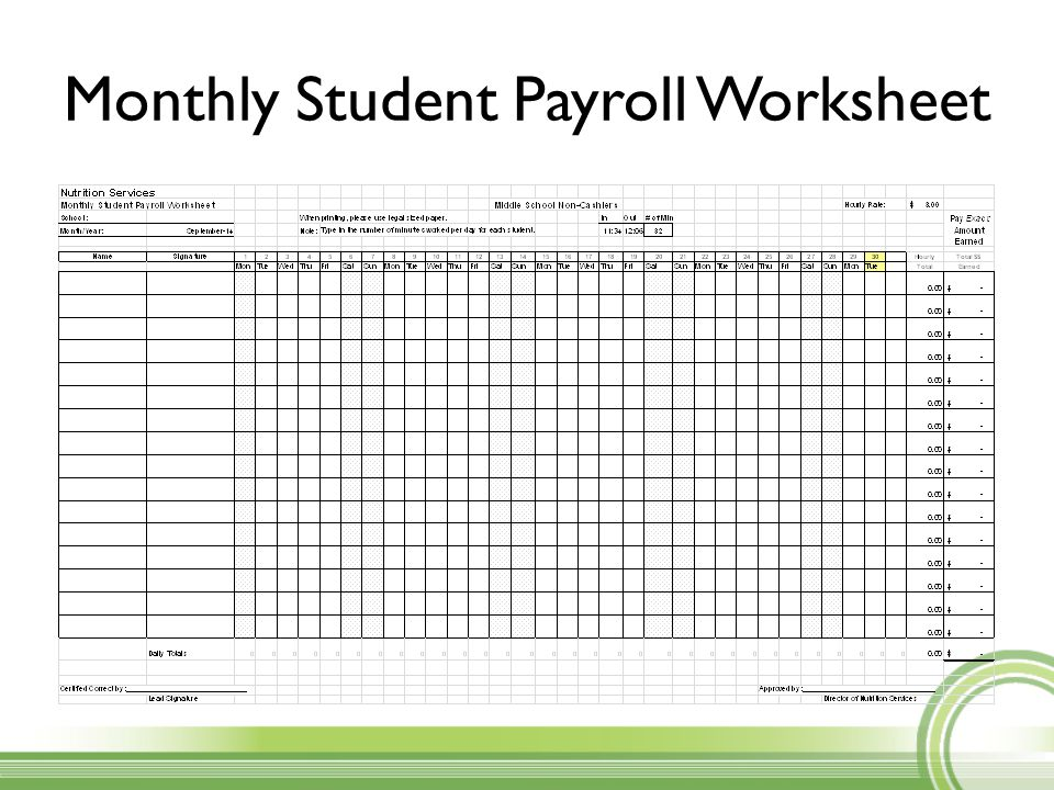 student payroll student sign in sheet monthly student payroll