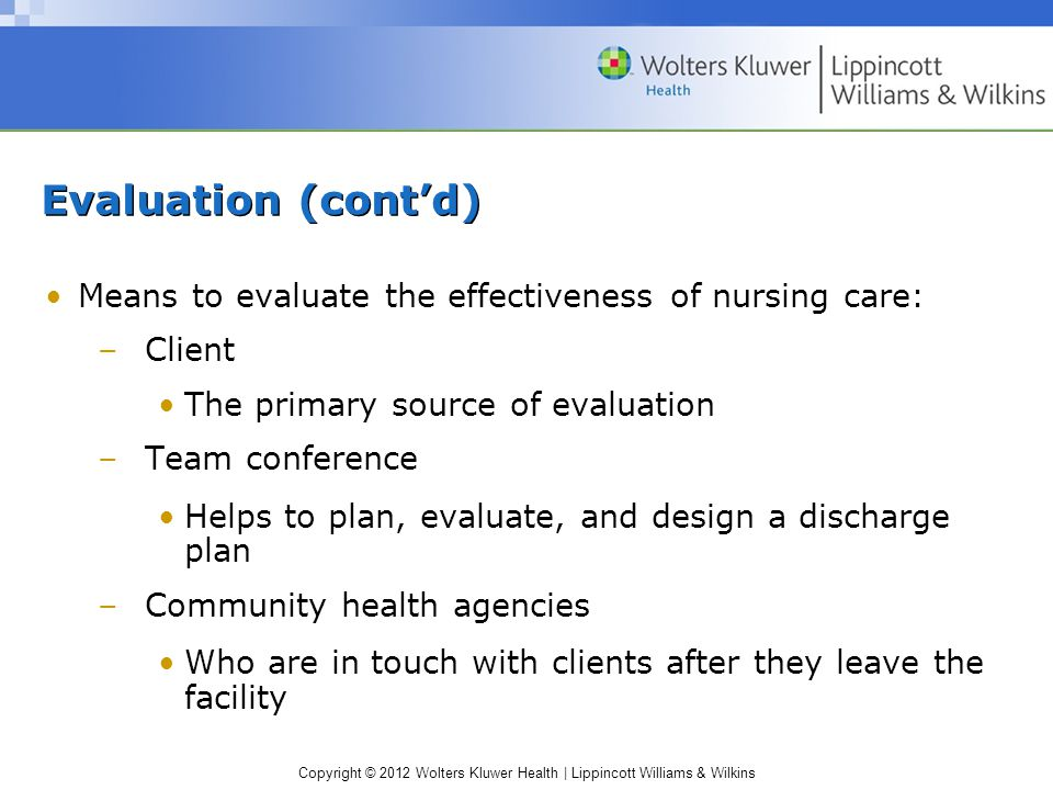 Copyright © 2012 Wolters Kluwer Health | Lippincott Williams & Wilkins Evaluation (cont'd) Means to evaluate the effectiveness of nursing care: –Client The primary source of evaluation –Team conference Helps to plan, evaluate, and design a discharge plan –Community health agencies Who are in touch with clients after they leave the facility