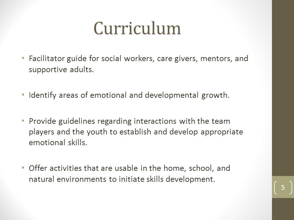 Curriculum Facilitator guide for social workers, care givers, mentors, and supportive adults.