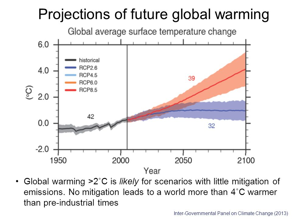 Projections of future global warming Global warming >2˚C is likely for scenarios with little mitigation of emissions.