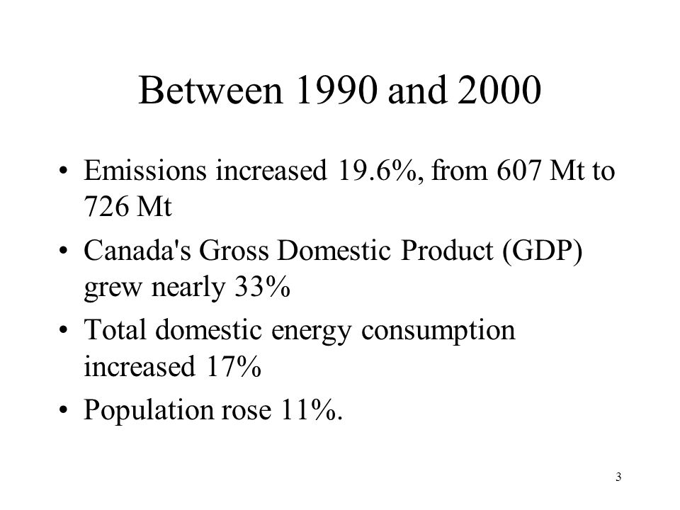 3 Between 1990 and 2000 Emissions increased 19.6%, from 607 Mt to 726 Mt Canada s Gross Domestic Product (GDP) grew nearly 33% Total domestic energy consumption increased 17% Population rose 11%.
