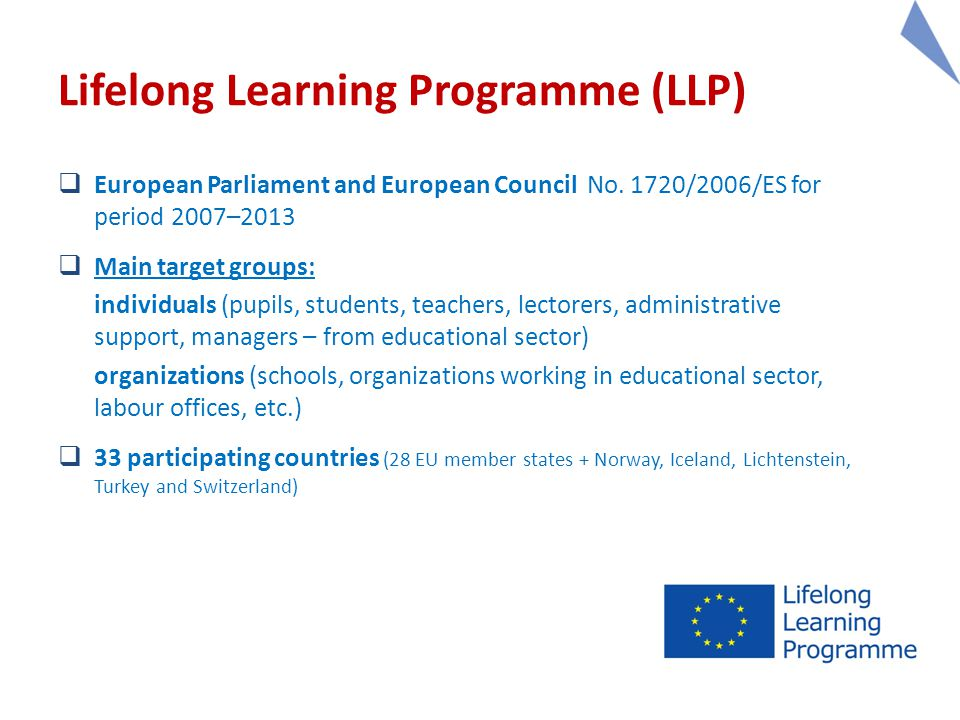 Lifelong Learning Programme (LLP)  European Parliament and European Council No.
