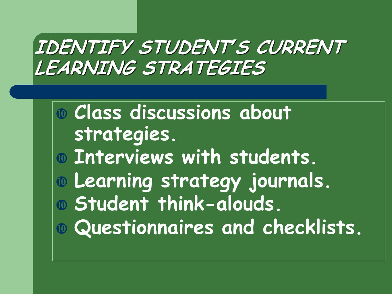 IDENTIFY STUDENT'S CURRENT LEARNING STRATEGIES  Class discussions about strategies.