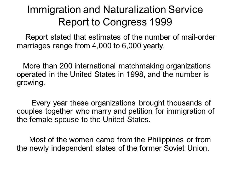 International matchmaking organizations a report to congress