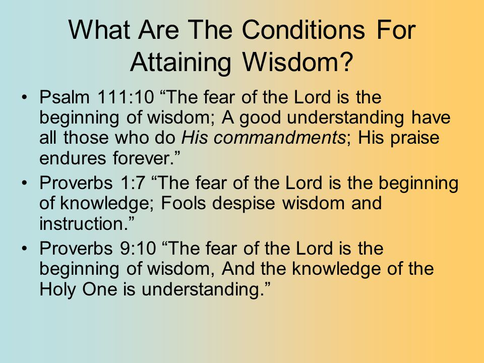 What Are The Conditions For Attaining Wisdom.
