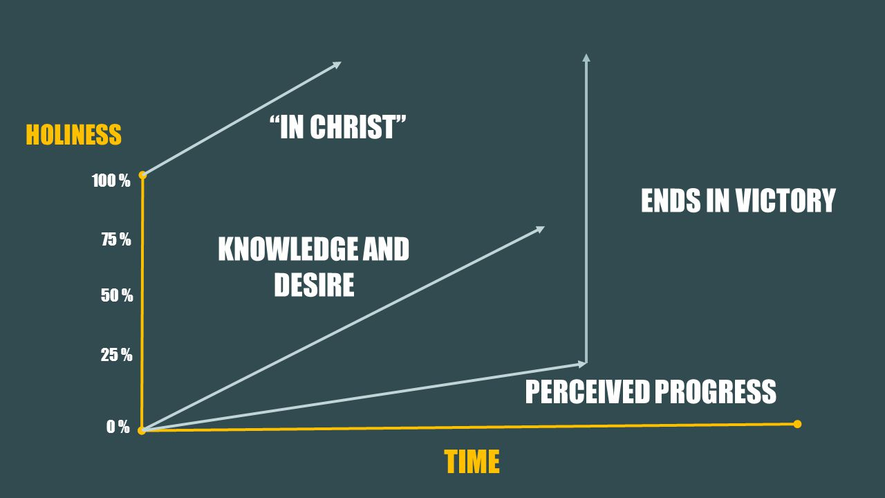 HOLINESS PERCEIVED PROGRESS 50 % 75 % 25 % 100 % 0 % IN CHRIST KNOWLEDGE AND DESIRE TIME ENDS IN VICTORY