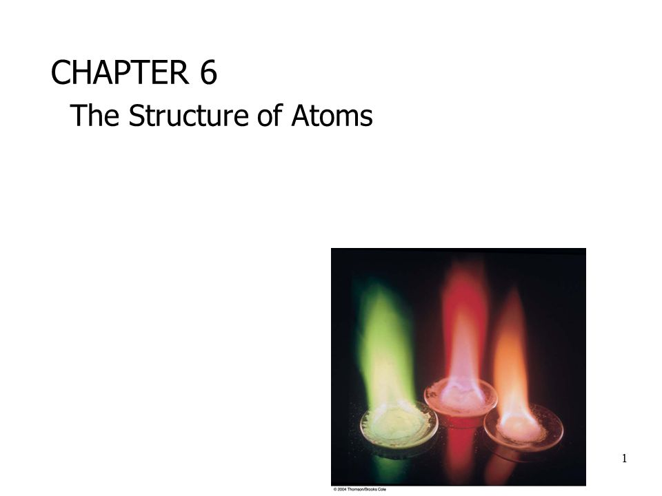 1 CHAPTER 6 The Structure of Atoms
