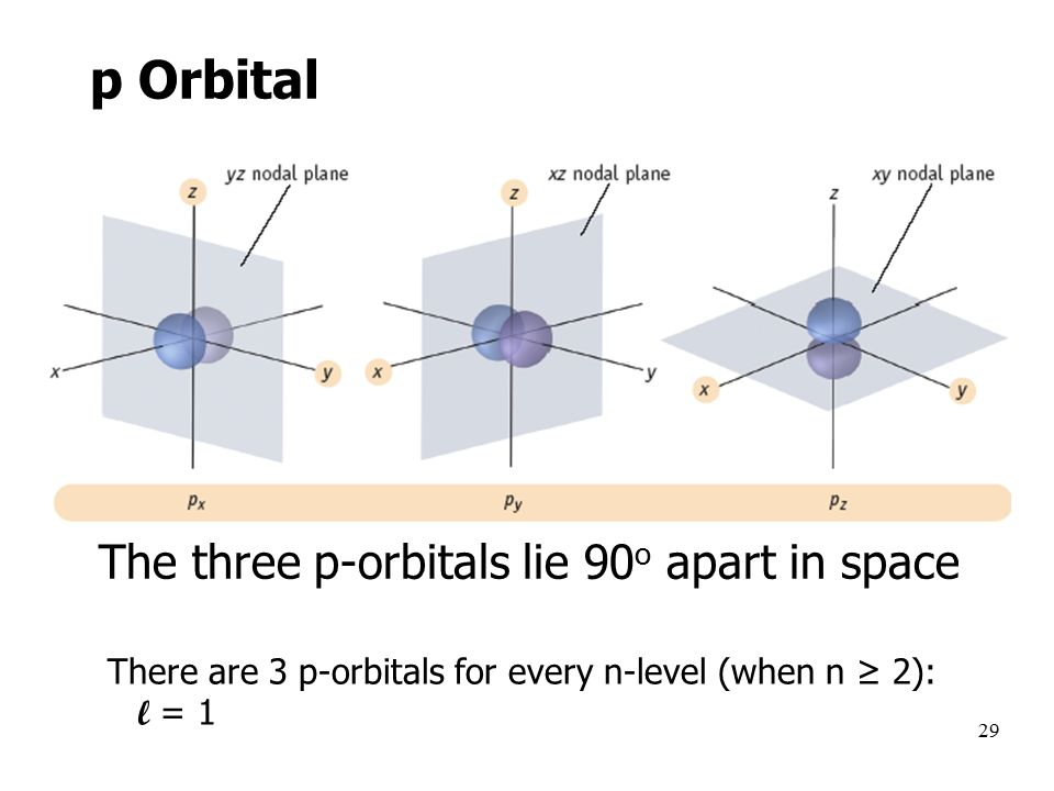 29 The three p-orbitals lie 90 o apart in space There are 3 p-orbitals for every n-level (when n ≥ 2): l = 1 p Orbital