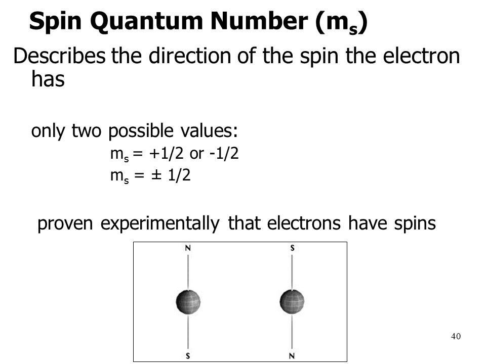 40 Spin Quantum Number (m s ) Describes the direction of the spin the electron has only two possible values: m s = +1/2 or -1/2 m s = ± 1/2 proven experimentally that electrons have spins
