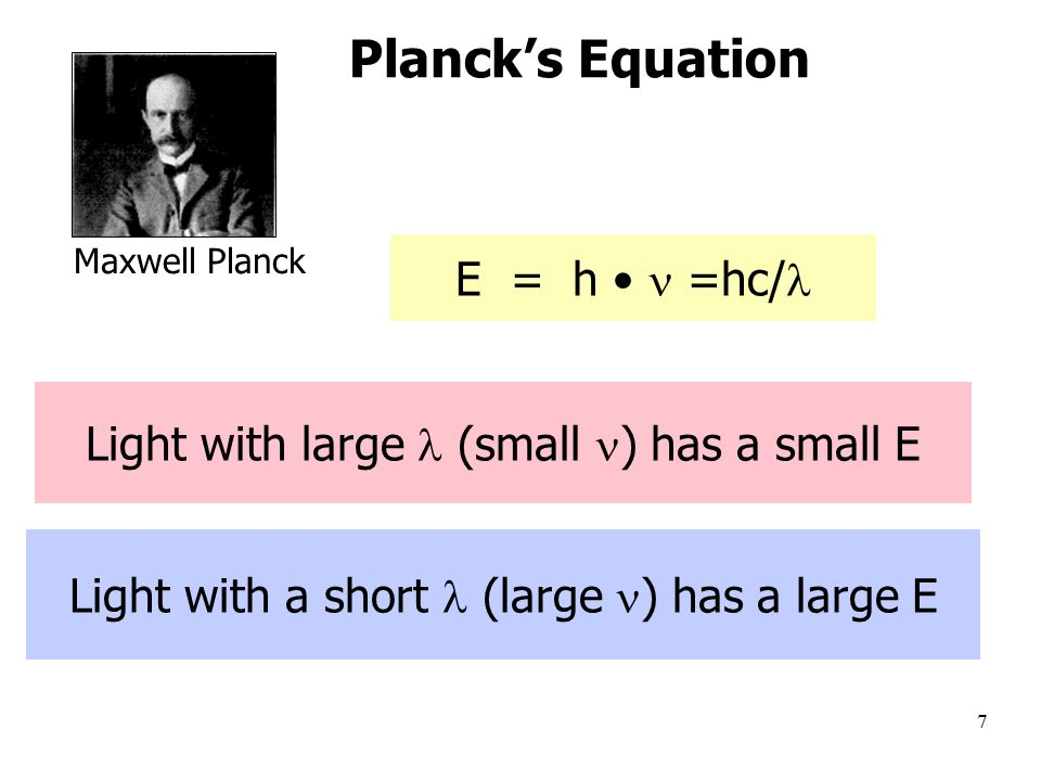 7 Light with a short (large ) has a large E Light with large (small ) has a small E E = h =hc/ Planck's Equation Maxwell Planck