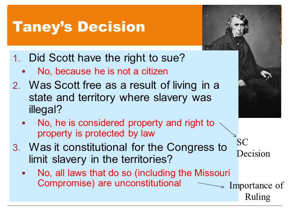 Taney's Decision 1. Did Scott have the right to sue.
