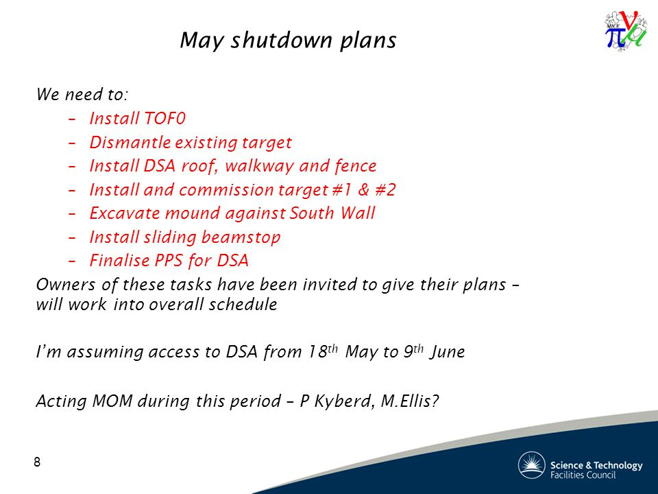 8 May shutdown plans We need to: –Install TOF0 –Dismantle existing target –Install DSA roof, walkway and fence –Install and commission target #1 & #2 –Excavate mound against South Wall –Install sliding beamstop –Finalise PPS for DSA Owners of these tasks have been invited to give their plans – will work into overall schedule I'm assuming access to DSA from 18 th May to 9 th June Acting MOM during this period – P Kyberd, M.Ellis
