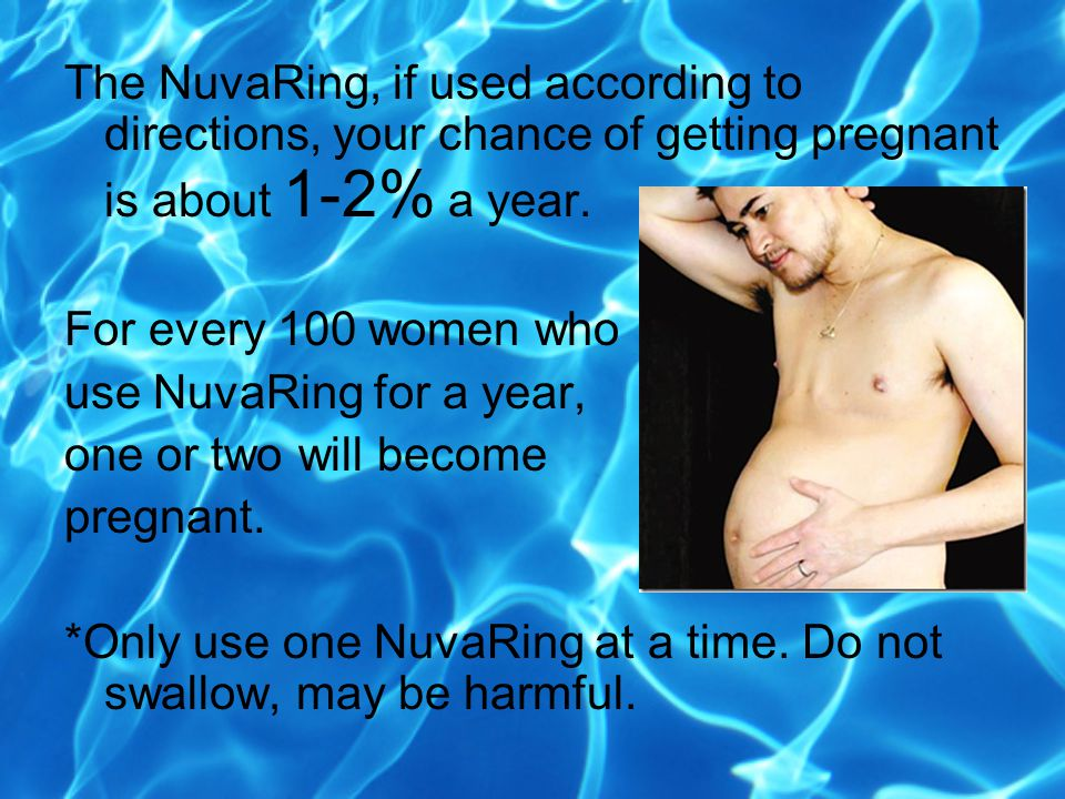 The NuvaRing, if used according to directions, your chance of getting pregnant is about 1-2% a year.