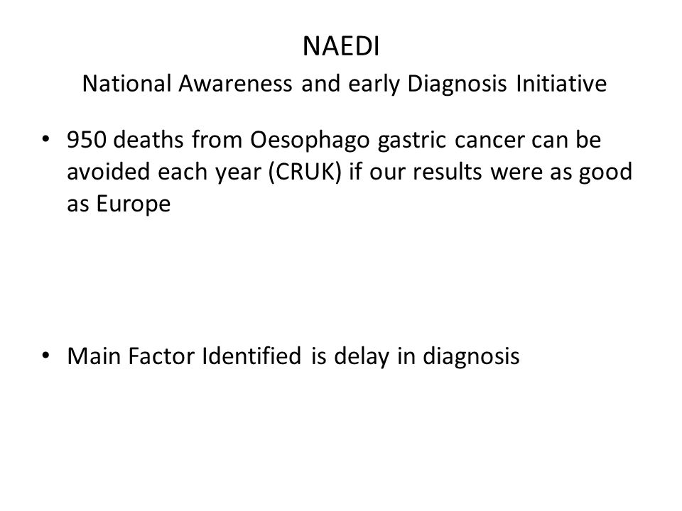 NAEDI National Awareness and early Diagnosis Initiative 950 deaths from Oesophago gastric cancer can be avoided each year (CRUK) if our results were as good as Europe Main Factor Identified is delay in diagnosis