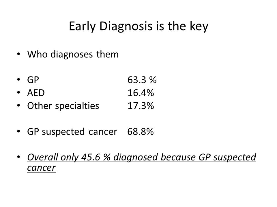 Early Diagnosis is the key Who diagnoses them GP63.3 % AED16.4% Other specialties17.3% GP suspected cancer 68.8% Overall only 45.6 % diagnosed because GP suspected cancer