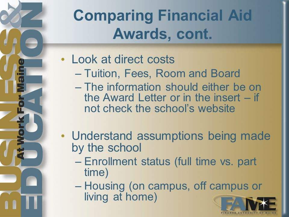 Comparing Financial Aid Awards, cont.