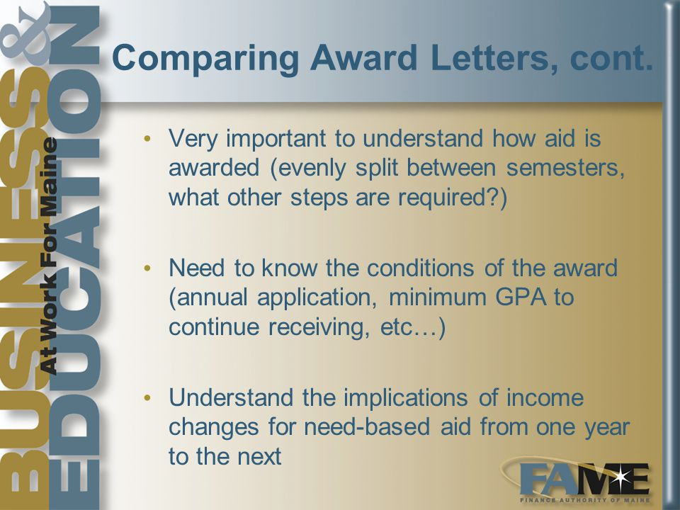 Comparing Award Letters, cont.