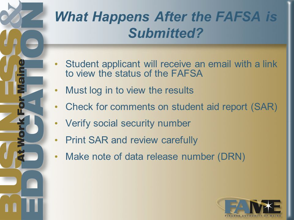 What Happens After the FAFSA is Submitted.