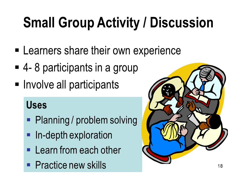 18 Small Group Activity / Discussion  Learners share their own experience  4- 8 participants in a group  Involve all participants Uses  Planning / problem solving  In-depth exploration  Learn from each other  Practice new skills