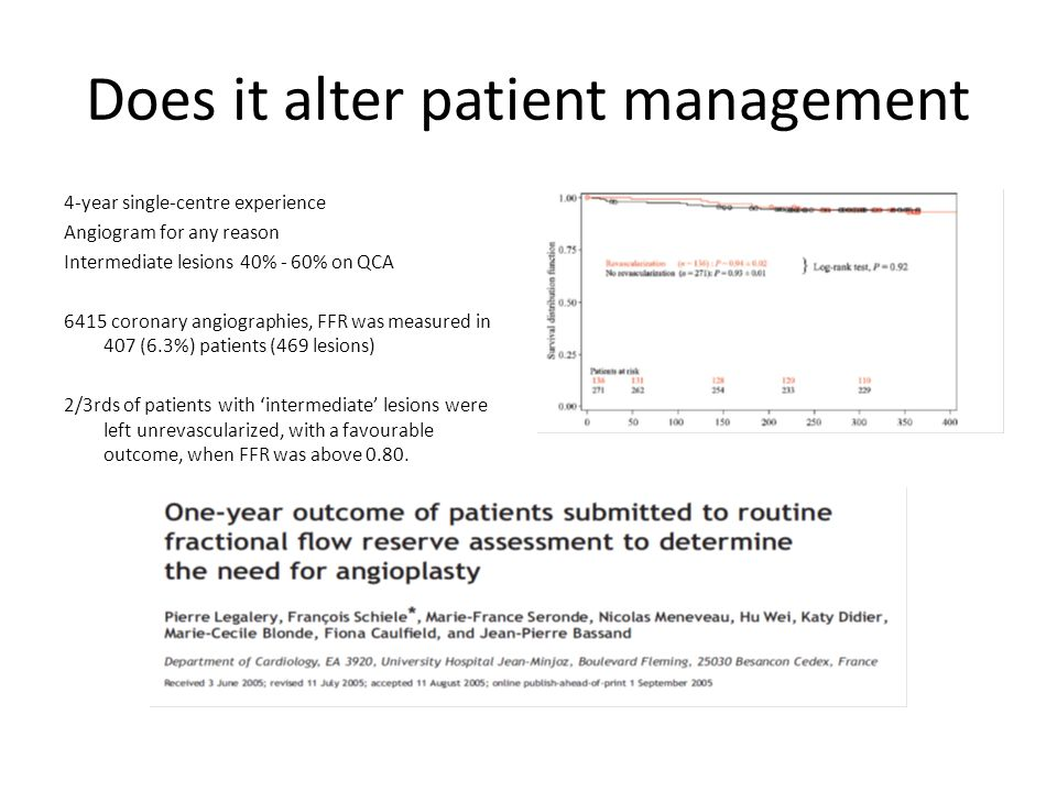 Does it alter patient management 4-year single-centre experience Angiogram for any reason Intermediate lesions 40% - 60% on QCA 6415 coronary angiographies, FFR was measured in 407 (6.3%) patients (469 lesions) 2/3rds of patients with 'intermediate' lesions were left unrevascularized, with a favourable outcome, when FFR was above 0.80.