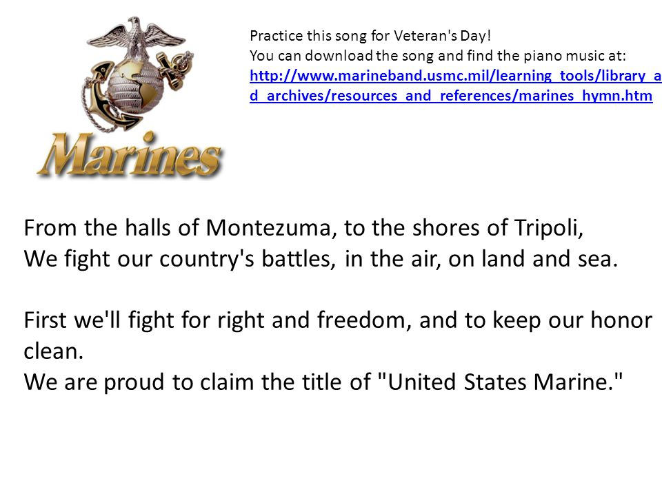 ARMED FORCES SALUTE We will be singing these songs to honor