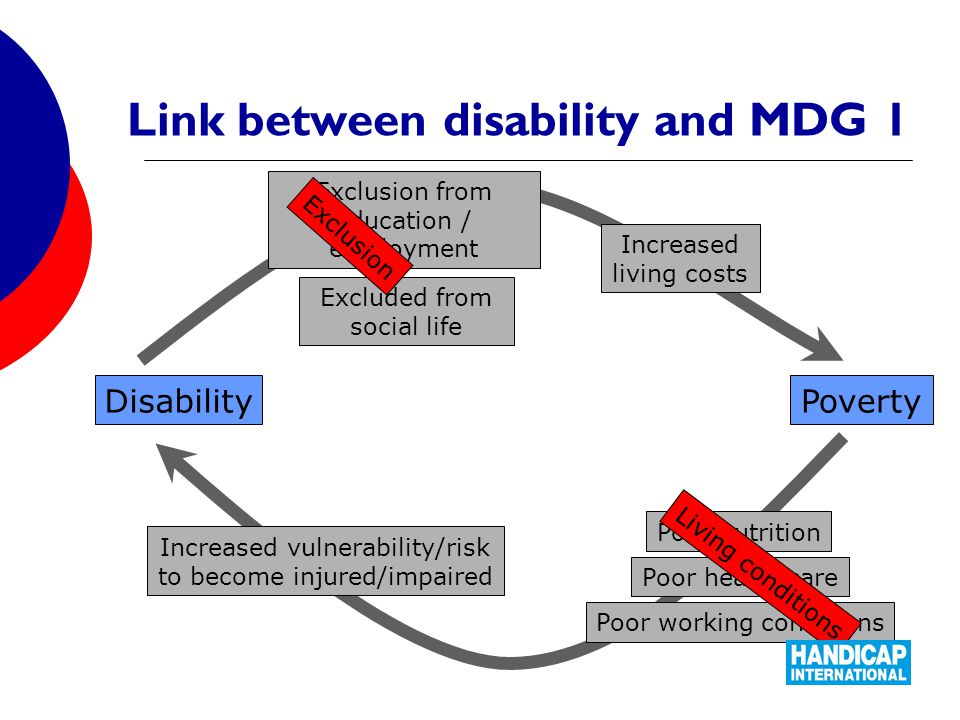 Link between disability and MDG 1 PovertyDisability Poor nutrition Poor health care Poor working conditions Increased vulnerability/risk to become injured/impaired Exclusion from education / employment Excluded from social life Increased living costs Living conditions Exclusion