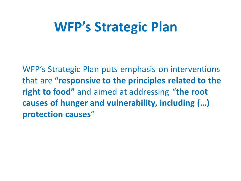 WFP's Strategic Plan puts emphasis on interventions that are responsive to the principles related to the right to food and aimed at addressing the root causes of hunger and vulnerability, including (…) protection causes WFP's Strategic Plan
