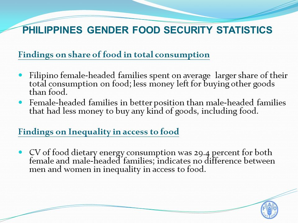 Findings on share of food in total consumption Filipino female-headed families spent on average larger share of their total consumption on food; less money left for buying other goods than food.