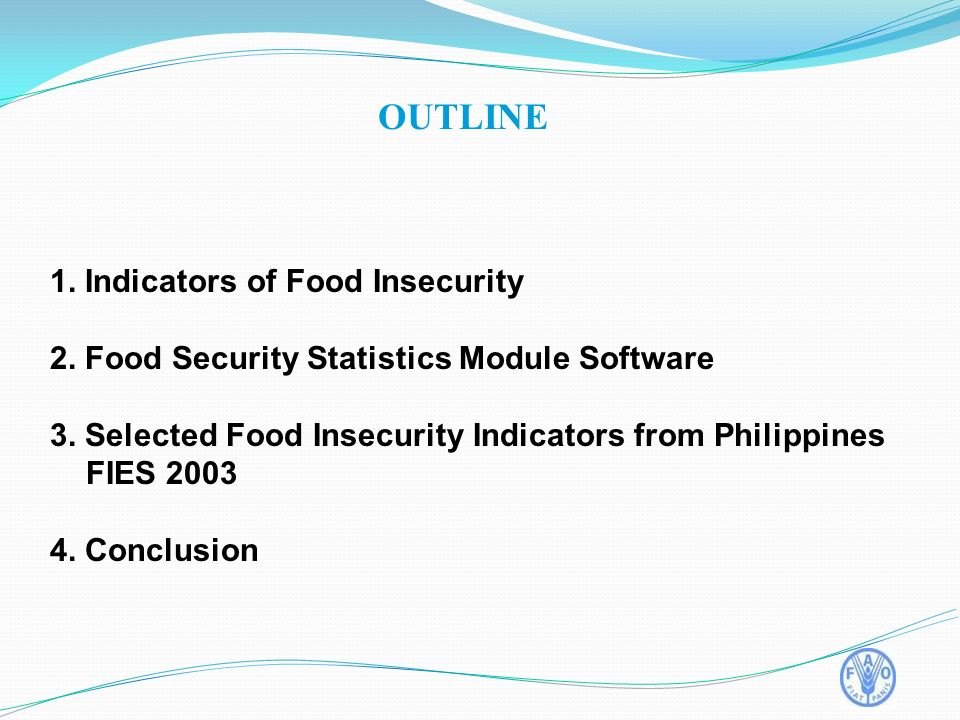 1. Indicators of Food Insecurity 2. Food Security Statistics Module Software 3.
