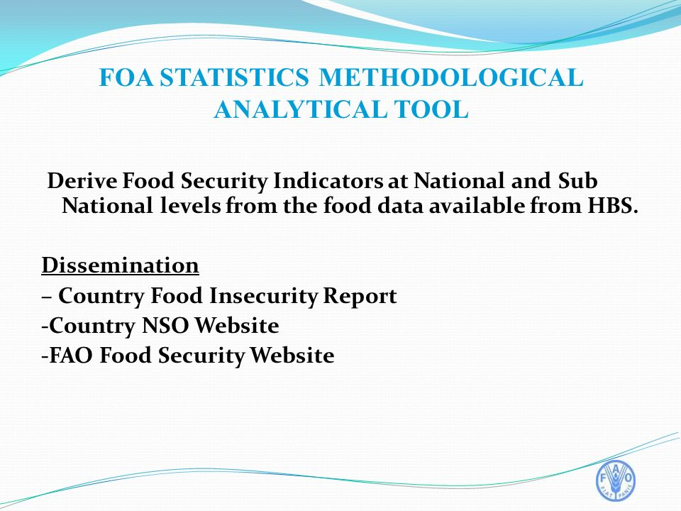 Derive Food Security Indicators at National and Sub National levels from the food data available from HBS.