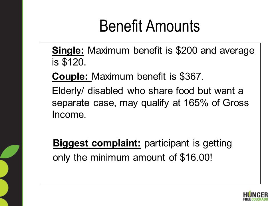 Benefit Amounts Single: Maximum benefit is $200 and average is $120.