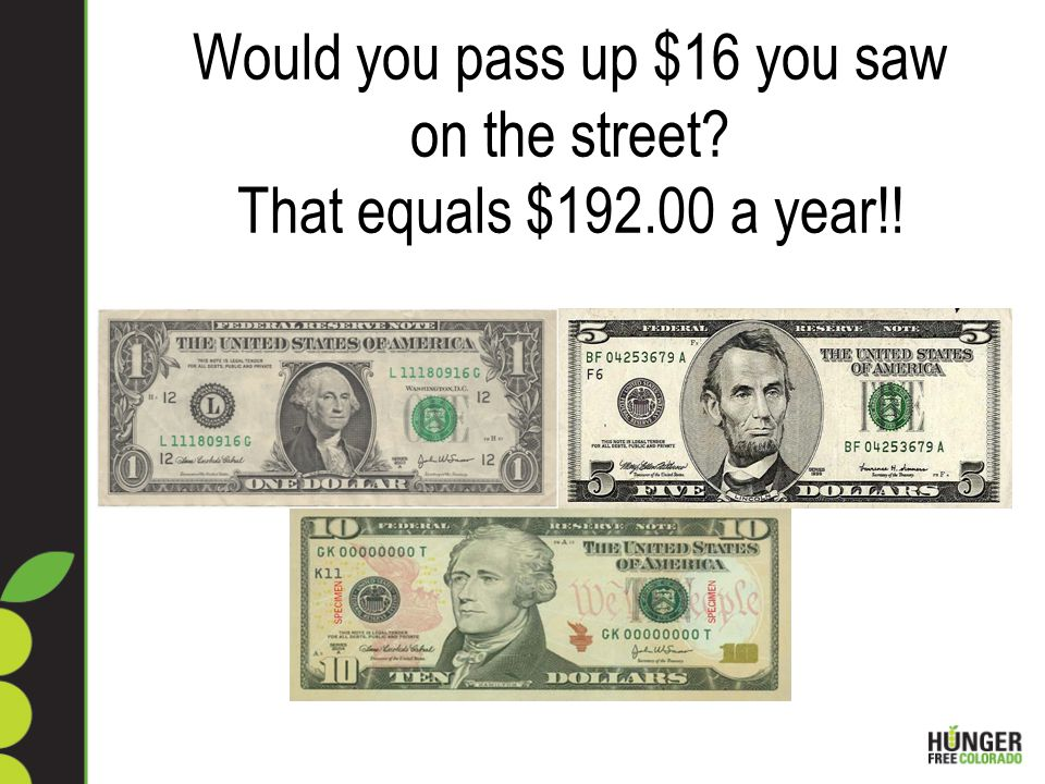 Would you pass up $16 you saw on the street That equals $ a year!!