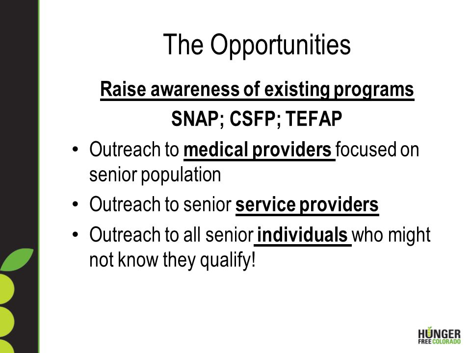 The Opportunities Raise awareness of existing programs SNAP; CSFP; TEFAP Outreach to medical providers focused on senior population Outreach to senior service providers Outreach to all senior individuals who might not know they qualify!