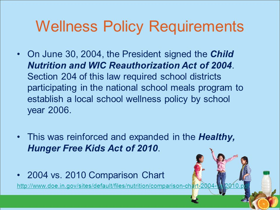 Wellness Policy Requirements On June 30, 2004, the President signed the Child Nutrition and WIC Reauthorization Act of 2004.
