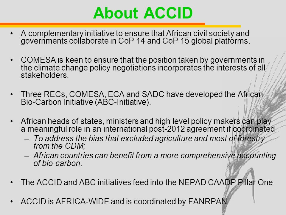 About ACCID A complementary initiative to ensure that African civil society and governments collaborate in CoP 14 and CoP 15 global platforms.