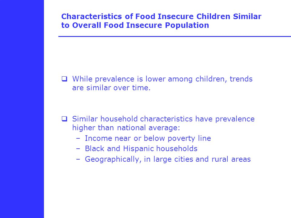 Characteristics of Food Insecure Children Similar to Overall Food Insecure Population  While prevalence is lower among children, trends are similar over time.