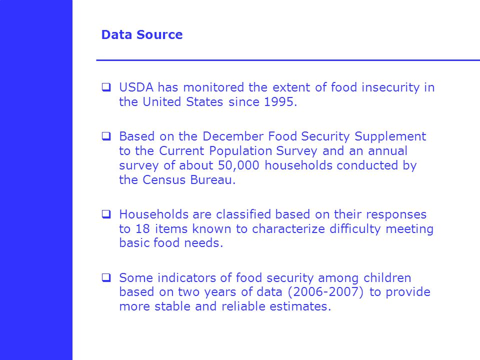 Data Source  USDA has monitored the extent of food insecurity in the United States since 1995.