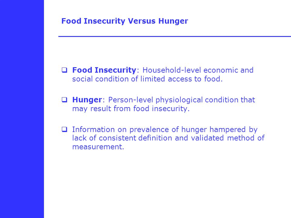 Food Insecurity Versus Hunger  Food Insecurity: Household-level economic and social condition of limited access to food.