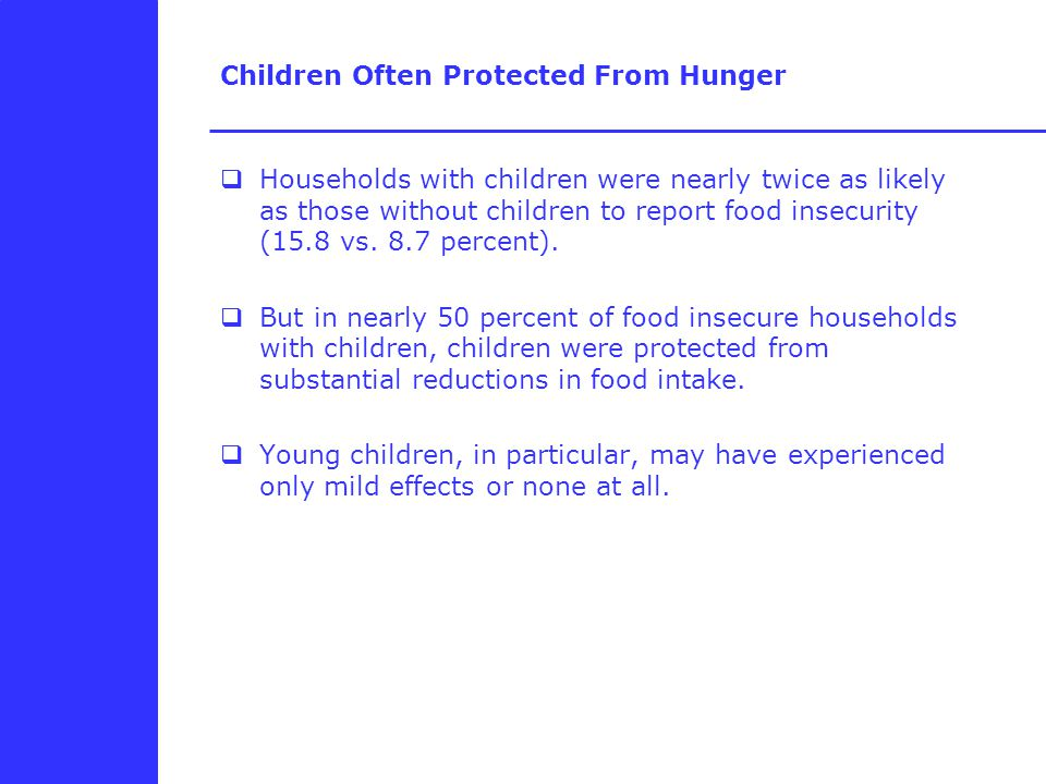 Children Often Protected From Hunger  Households with children were nearly twice as likely as those without children to report food insecurity (15.8 vs.