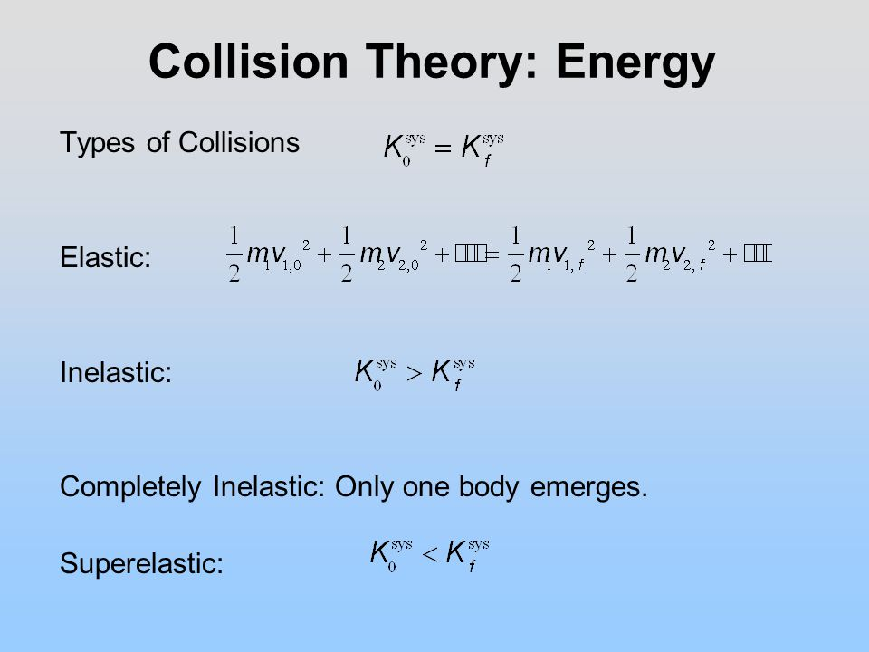 Collision Theory: Energy Types of Collisions Elastic: Inelastic: Completely Inelastic: Only one body emerges.