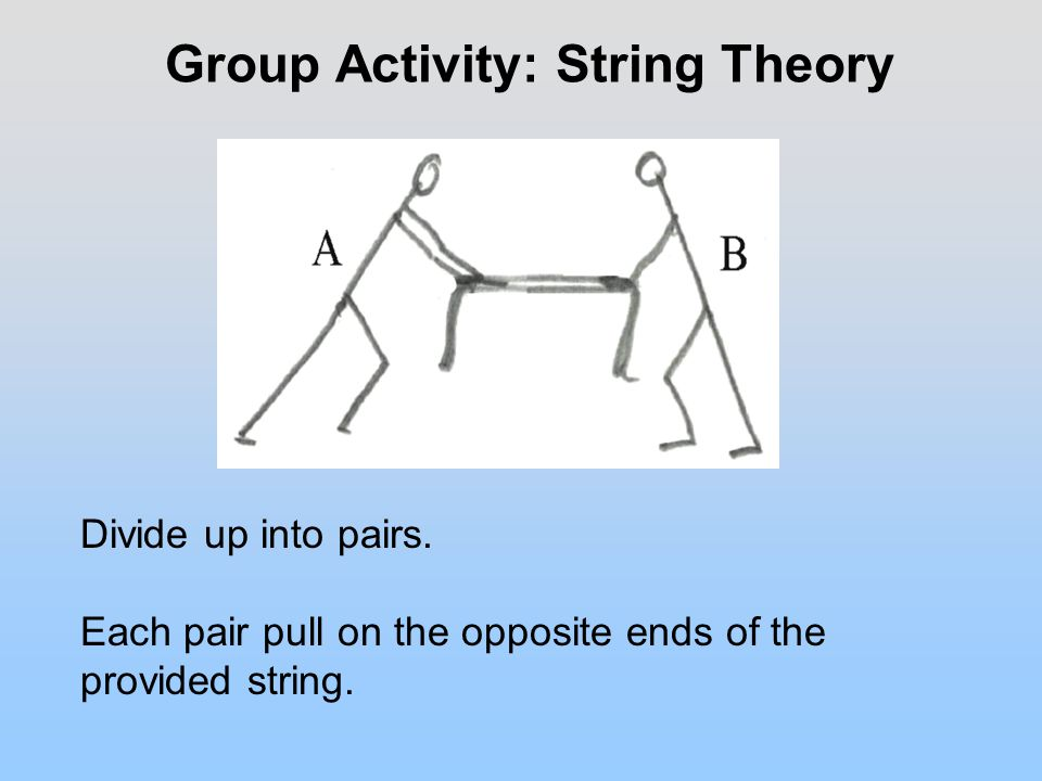 Group Activity: String Theory Divide up into pairs.
