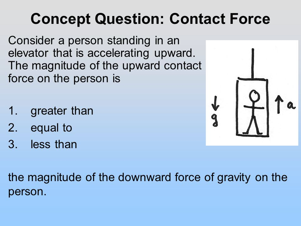 Concept Question: Contact Force Consider a person standing in an elevator that is accelerating upward.